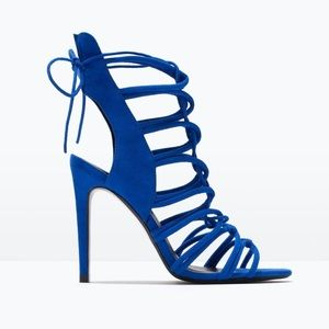 NWOT ZARA electric blue heels, 7